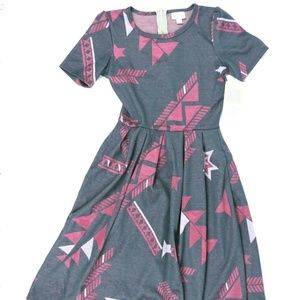 Lularoe Womens Dress Size XS Amelia Gray Geometric